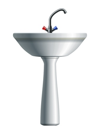 domestic bathroom: Washing sink with ceramic base and water tap   Illustration