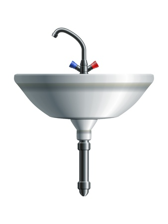 Washing sink front view with metal pipe and water tap  Stock Vector - 18091037