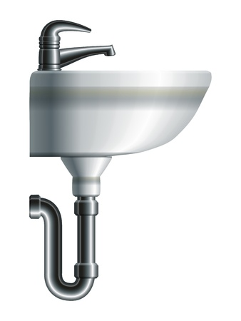 basin: Washing sink side view with metal pipe and water tap