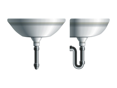 bathroom faucet: Washing sink side and front view with metal pipe