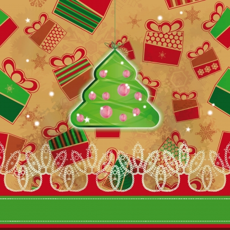 Christmas tree hanged over grunge background with presents   Stock Vector - 18091067