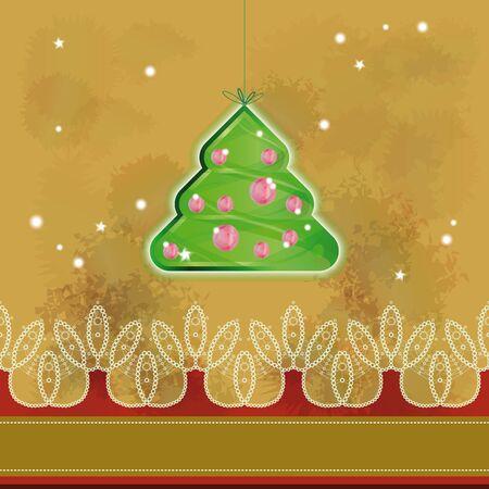 impiccata: Albero di Natale appeso su sfondo grunge Vettoriali
