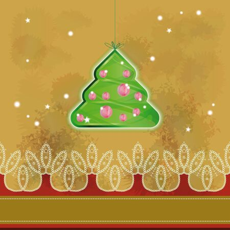 Christmas tree hanged over grunge background   Vector