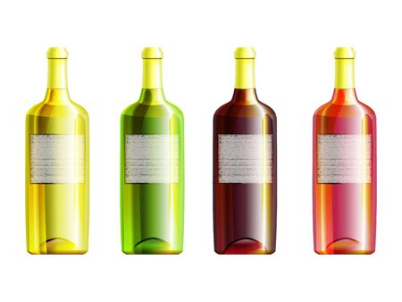 Set of 4 wine closed bottles with different glass color with grunge labels Stock Vector - 18091059