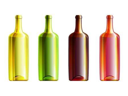 Set of 4 wine opened bottles with different glass color