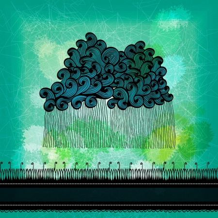 Abstract grunge greeting card with hand drawn clouds and rain  Eps10