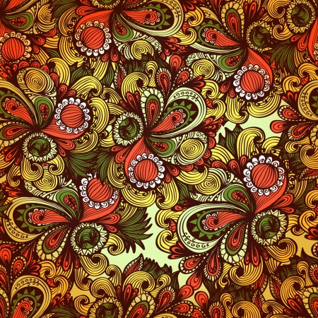 Seamless warm floral background with fantasy flowers and swirls  Eps10 Vector