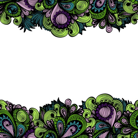 Seamless hand drawn floral frame with horizontal white space for text  Eps10