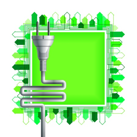 White electricity plug over the green square with buildings  Ecological concept  Eps10