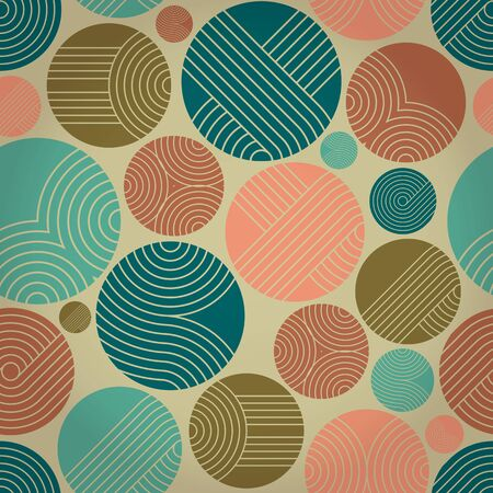 Seamless geometrical ornament with striped circles Vector