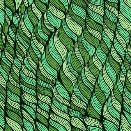 Seamless green floral pattern with hand drawn abstract leaves Vector