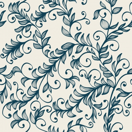 leaf pattern: Beautiful seamless hand drawn elegant floral background with branches