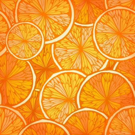 Bright hand drawn seamless background with oranges    Vector
