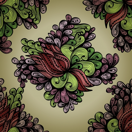regular: Seamless hand drawn background with regular flowers    Illustration