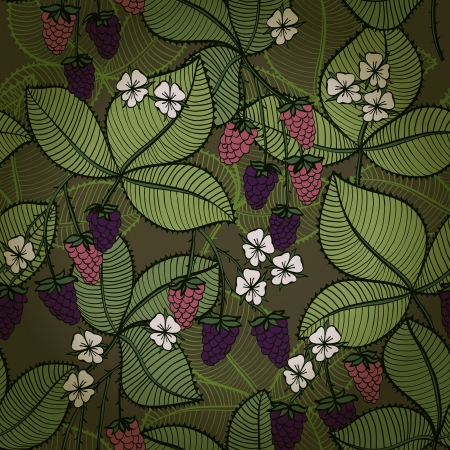 Seamless floral background with blackberry fruits and flowers
