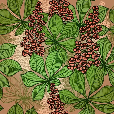 Seamless spring hand drawn background with chestnut flowers    Vector