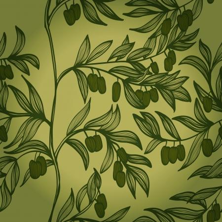 Blanco y negro dibujado a mano sin fisuras de fondo con las ramas y las aceitunas verdes