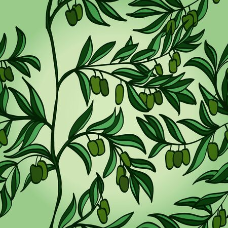 Seamless hand drawn background with branches and green olives    Vector