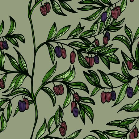 Seamless hand drawn background with branches and black olives Vector