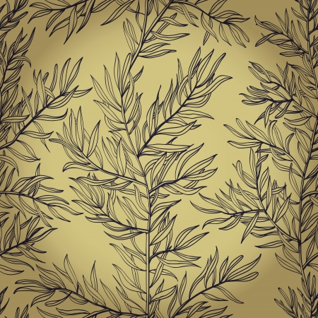 Seamless vintage hand drawn background with rosemary herb    Vector