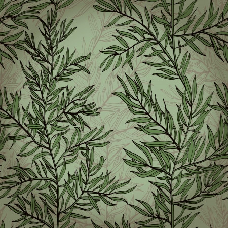 Seamless vintage hand drawn background with rosemary plant