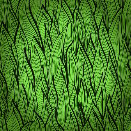 Monochrome green hand drawn seamless pattern with grass sprouts    Vector