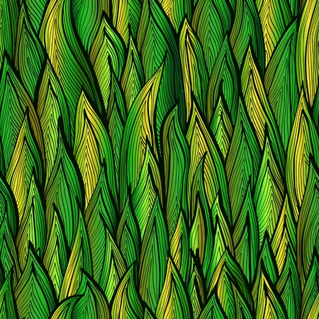 Bright green gradient hand drawn seamless pattern with grass sprouts Vector
