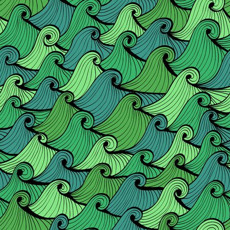 squall: Seamless blue and green hand drawn background with waves