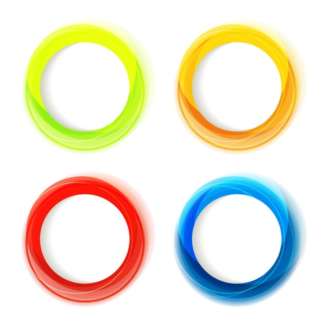 Set of four colorful circle frames with white copyspace Illustration