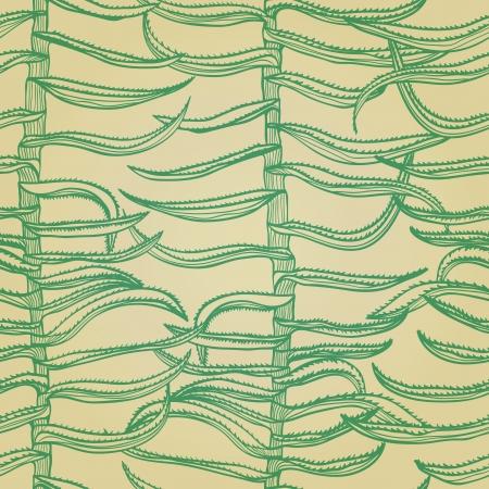 Seamless monochrome hand drawn background with aloe vera plants Stock Vector - 20697450