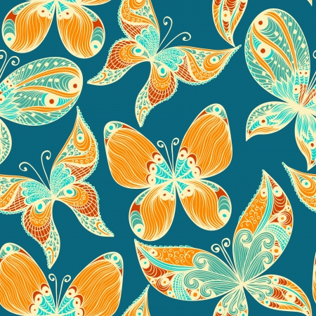 Blue vintage hand drawn seamless background with butterflies Illustration