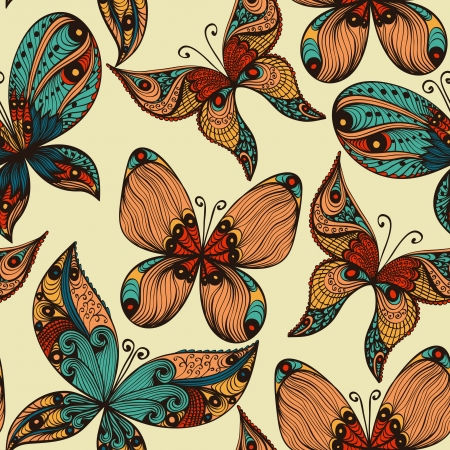 retro illustration: Bright vintage hand drawn seamless background with butterflies