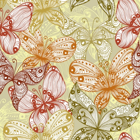 Elegant beige vintage hand drawn seamless background with butterflies Vector