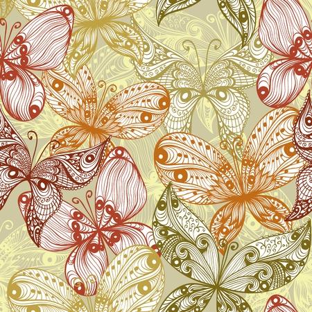 Elegant beige vintage hand drawn seamless background with butterflies