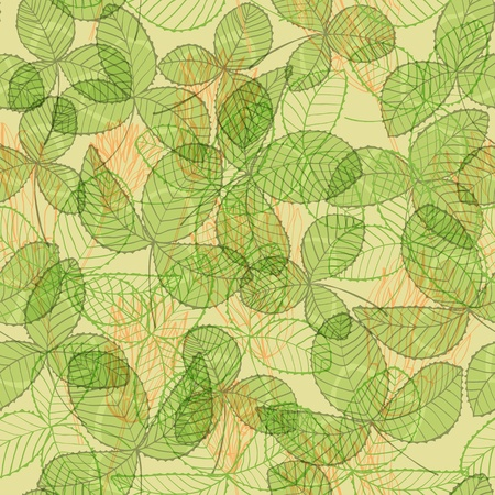 Seamless hand drawn vintage green background with clover flowers and leaves Vector