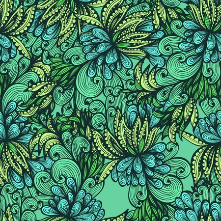 Seamless green hand drawn background with expressive leaves Vector