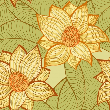 Seamless hand drawn vintage pattern with magnolia flowers Vector