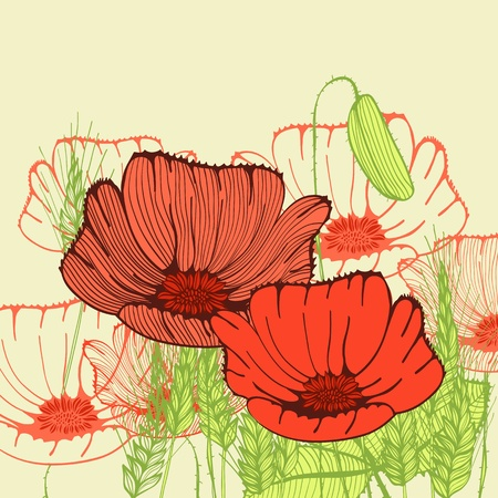 Retro hand drawn greeting card with poppy flowers Vector