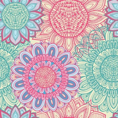 Seamless blue and pink floral background with hand drawn flowers Illustration