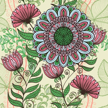 Elegant hand drawn seamless vintage green and pink floral background