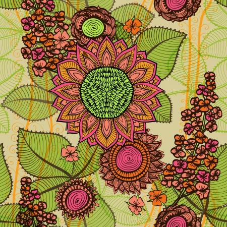 Elegant hand drawn seamless vintage beige and pink floral background Vector