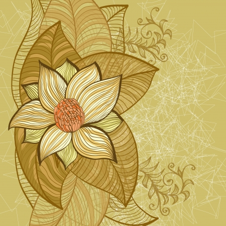 Vintage grunge hand drawn greeting card with magnolia flower Vector