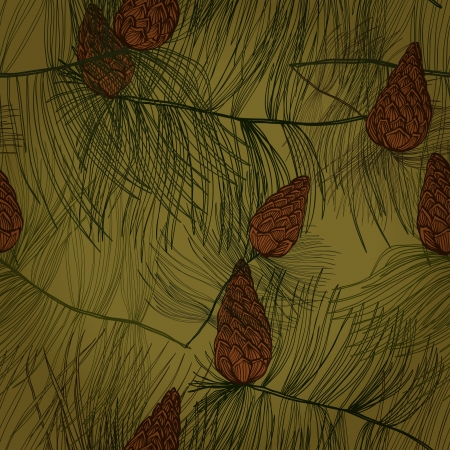 Seamless hand drawn pattern with pine tree branches and cones