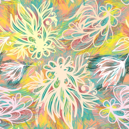 Expressive hand drawn sketchy floral seamless pattern with pastel colors  Vector