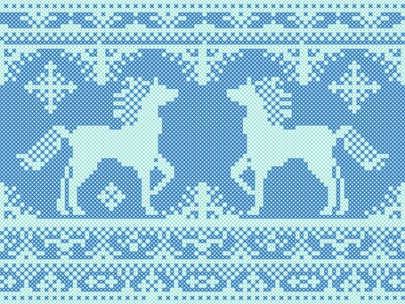 Seamless traditional embroidery blue Christmas pattern with running horses Vector
