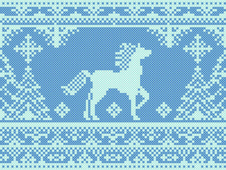 Seamless traditional embroidery blue Christmas pattern with running horse and pine trees Illustration
