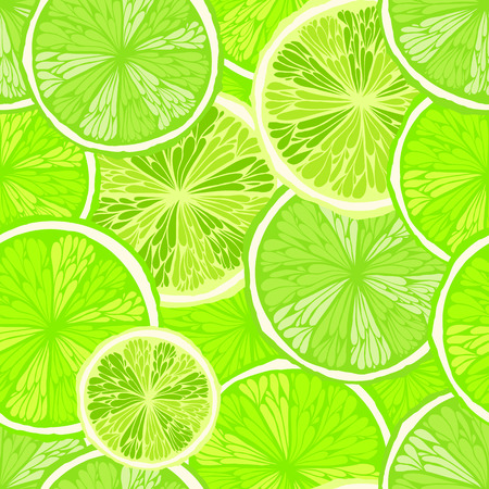Bright hand drawn seamless background with limes Ilustrace
