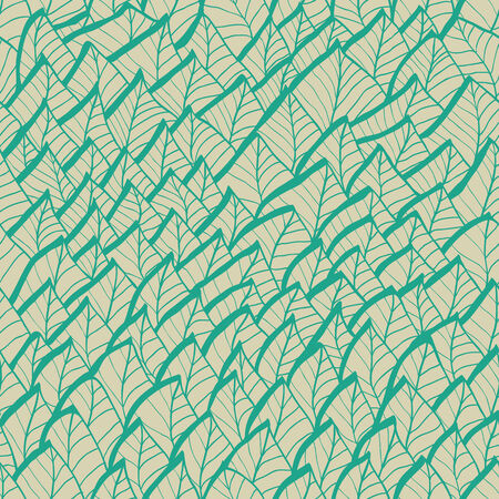 Vintage floral seamless hand drawn background with leaves
