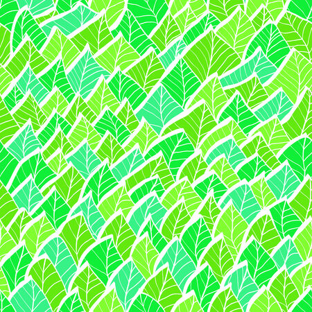 Vintage hand drawn seamless pattern with green leaves Vector
