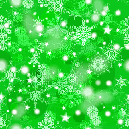 Shiny green winter seamless pattern with snowflakes